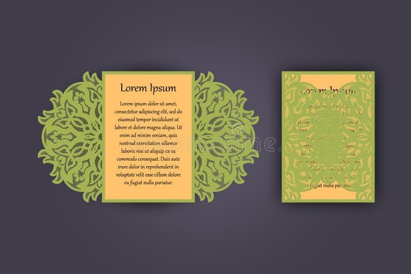 Tarjeta de la invitación o de felicitación de la boda con el ornamento del cordón del vintage Maqueta para el corte del laser Ilu ilustración del vector