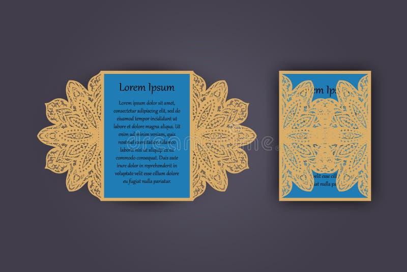 Tarjeta de la invitación o de felicitación de la boda con el ornamento del cordón del vintage Maqueta para el corte del laser Ilu libre illustration