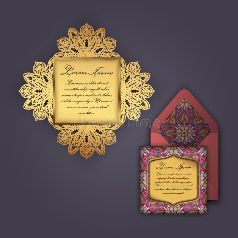 Tarjeta de la invitación o de felicitación de la boda con el ornamento floral del vintage Plantilla de papel del sobre del cordón ilustración del vector