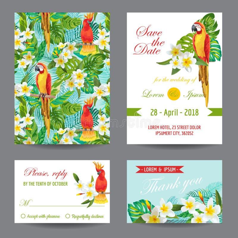 Tarjeta de la invitación o de felicitación fijada con los pájaros tropicales stock de ilustración