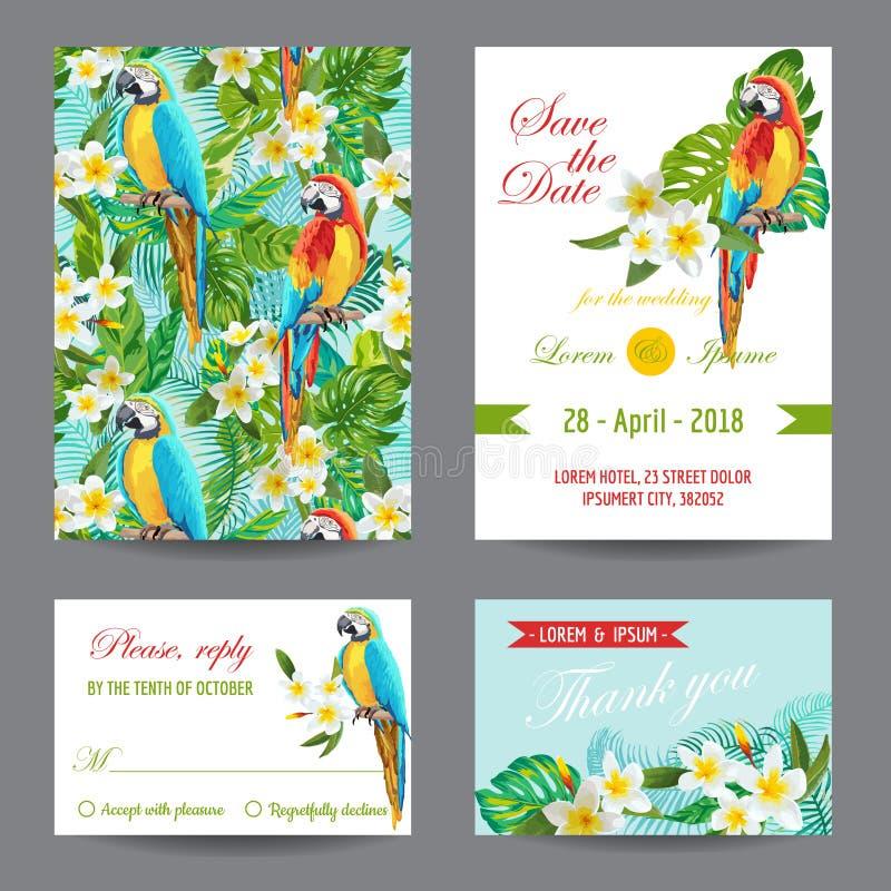 Tarjeta de la invitación o de felicitación fijada - diseño tropical de los pájaros y de las flores ilustración del vector