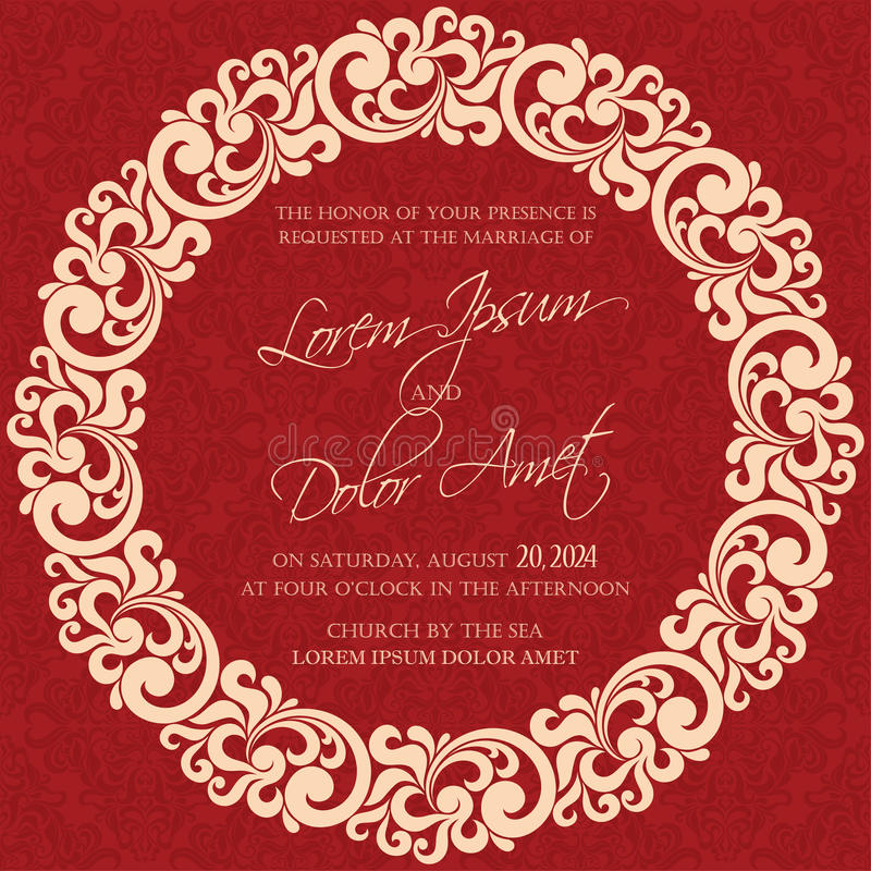 Tarjeta de la invitación o del aviso de la boda libre illustration