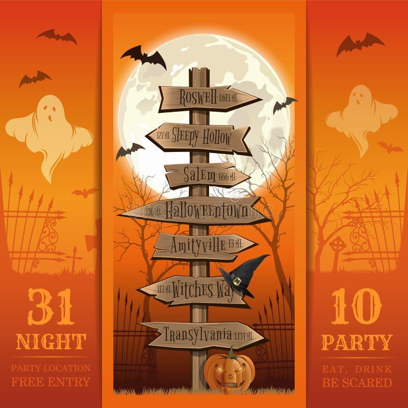 Tarjeta de la invitación para un partido de la noche de Halloween libre illustration
