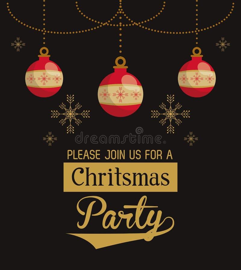 Tarjeta de la invitación de la pieza de la Navidad stock de ilustración