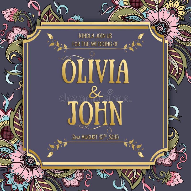 Tarjeta de la invitación y del aviso de la boda con las ilustraciones florales del fondo Fondo floral adornado elegante libre illustration