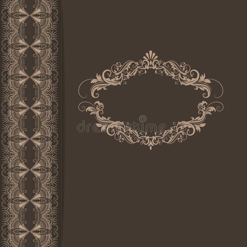 Tarjeta de la invitación y del aviso de la boda con las ilustraciones florales del fondo Fondo floral adornado elegante floral stock de ilustración