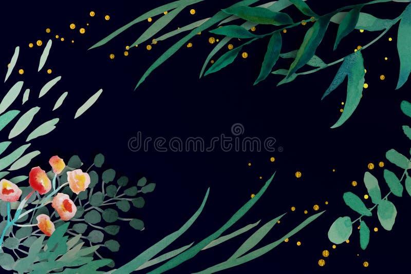 Tarjeta de la invitaci?n de la boda Marco floral y de las hojas con brillo del oro acuarela, guirnalda bosquejada, color del verd stock de ilustración