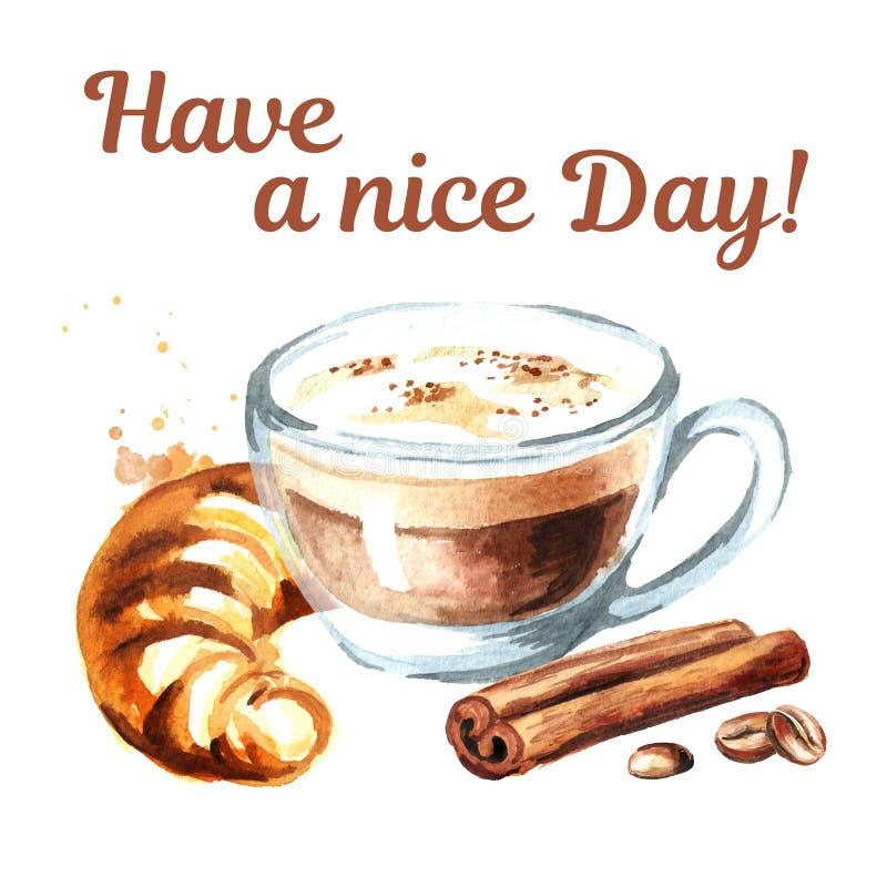 Tarjeta de la mañana Capuchino del café con los granos franceses tradicionales del cruasán, del canela y de café Ejemplo dibujado libre illustration