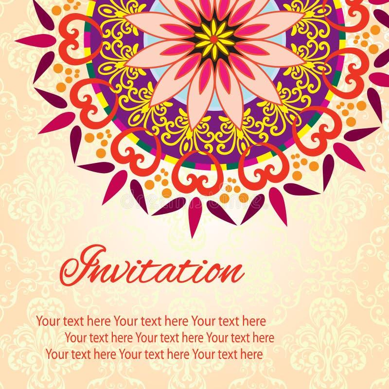 Tarjeta de la mandala de la invitación stock de ilustración