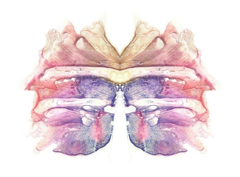 Tarjeta de la mariposa de la prueba de la mancha de tinta del rorschach Mancha azul, violeta, púrpura, rosada, roja y marrón de l ilustración del vector