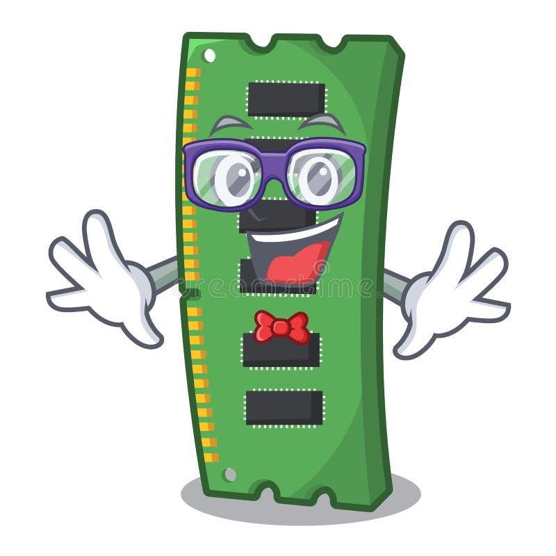 Tarjeta de la memoria ram del friki la forma de la mascota ilustración del vector