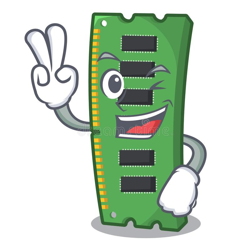 Tarjeta de la memoria ram de dos fingeres la forma de la mascota stock de ilustración