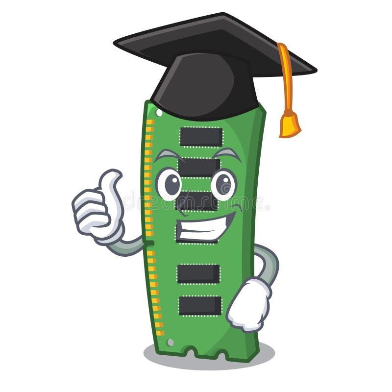 Tarjeta de la memoria ram de la graduación la forma de la mascota ilustración del vector
