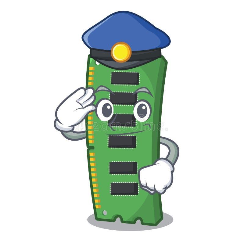 Tarjeta de la memoria ram de la policía aislada en historieta ilustración del vector