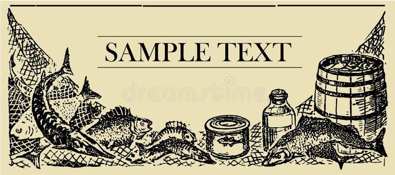 Tarjeta de la muestra de los pescados stock de ilustración