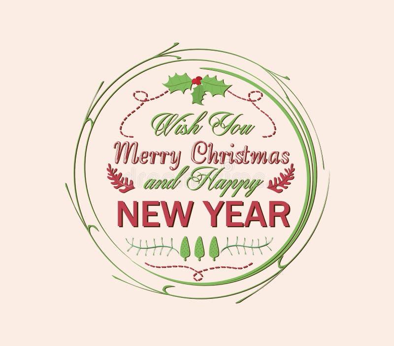 tarjeta de la Navidad del vintage y de la Feliz Año Nuevo ilustración del vector