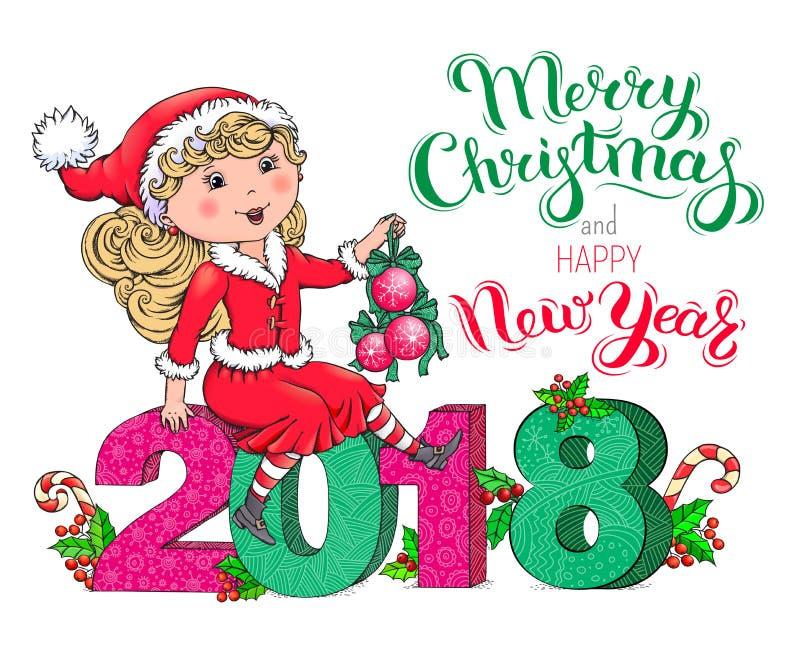 Tarjeta de la Navidad de la muchacha de Santa Claus y del Año Nuevo 2018 stock de ilustración