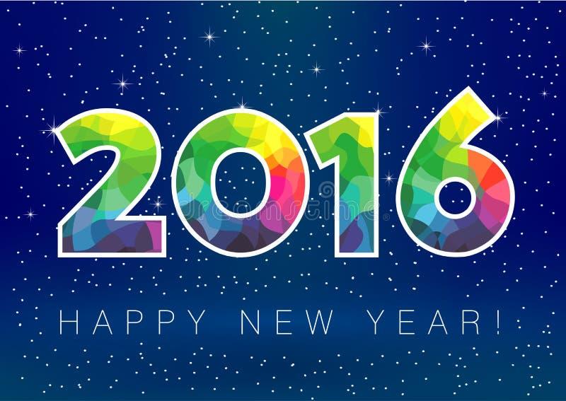 tarjeta de la nieve del Año Nuevo 2016 stock de ilustración