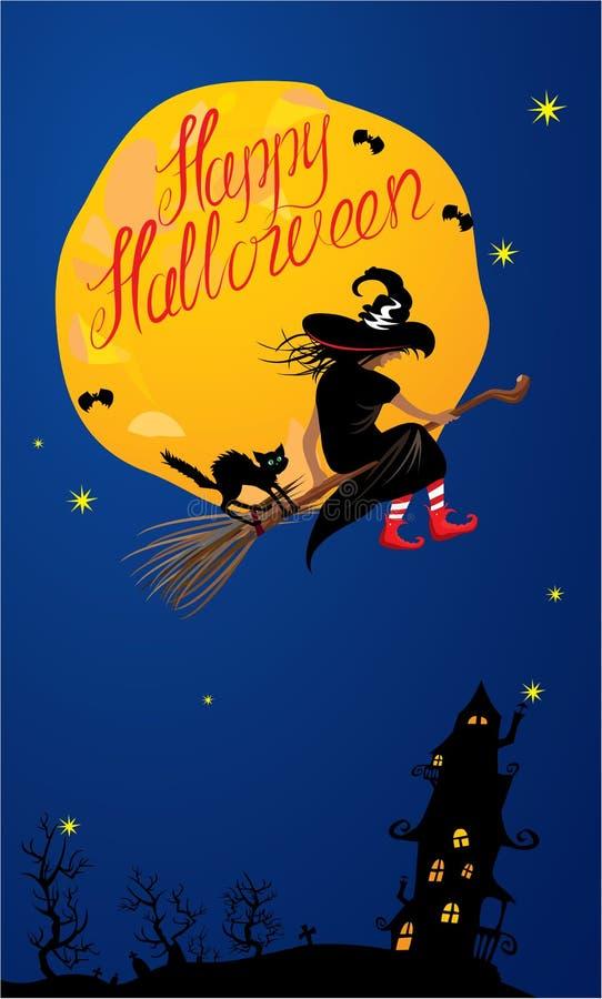 Download Tarjeta De La Noche De Halloween: Flyin De La Bruja Y Del Gato Negro Ilustración del Vector - Ilustración de caída, otoño: 44851190