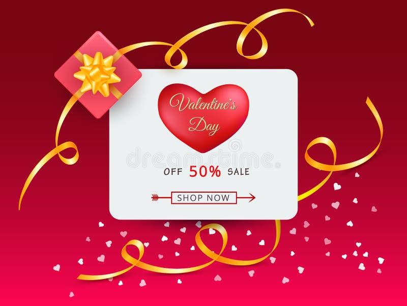 Tarjeta de la oferta del descuento de día de San Valentín con el corazón rojo, arcos del oro y cintas y caja de regalo rosada stock de ilustración