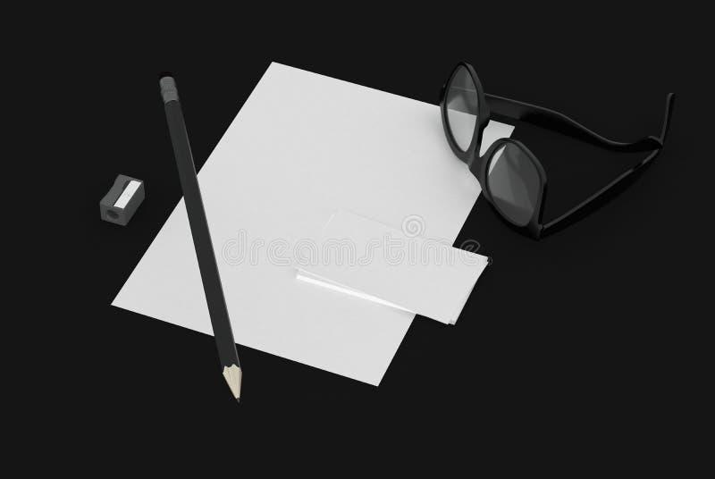Tarjeta de la página y de visita en el escritorio negro con los vidrios libre illustration