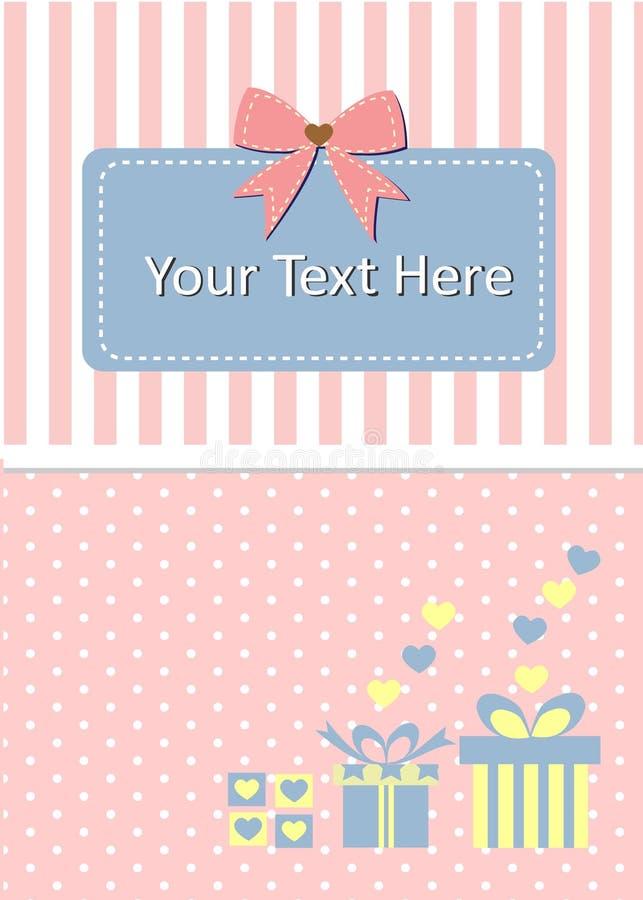 Tarjeta de la plantilla adornada por la caja y el arco de regalo fotografía de archivo libre de regalías