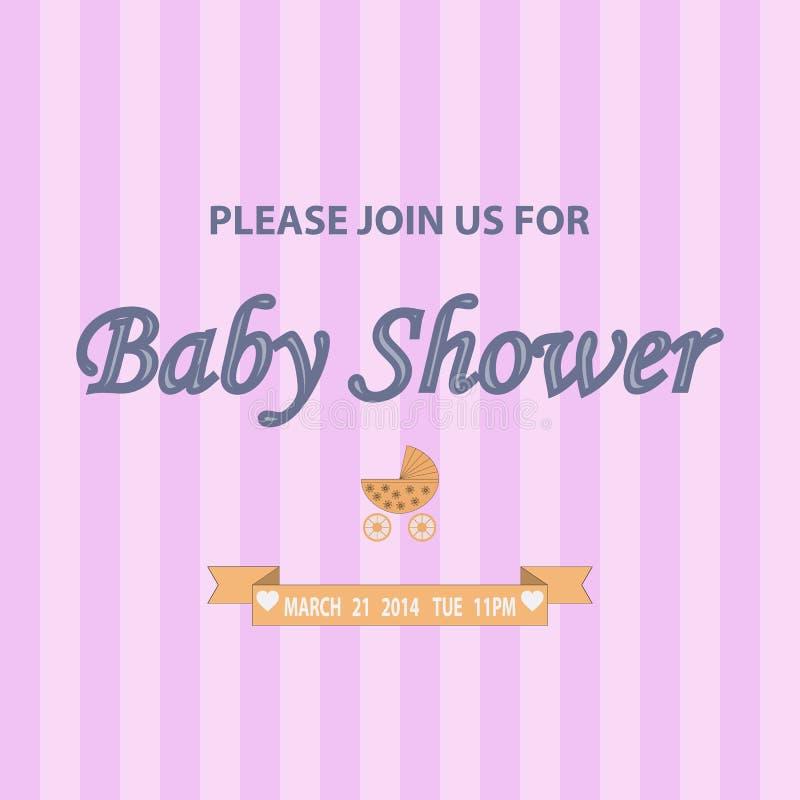 Tarjeta de la plantilla de la invitación de la fiesta de bienvenida al bebé stock de ilustración