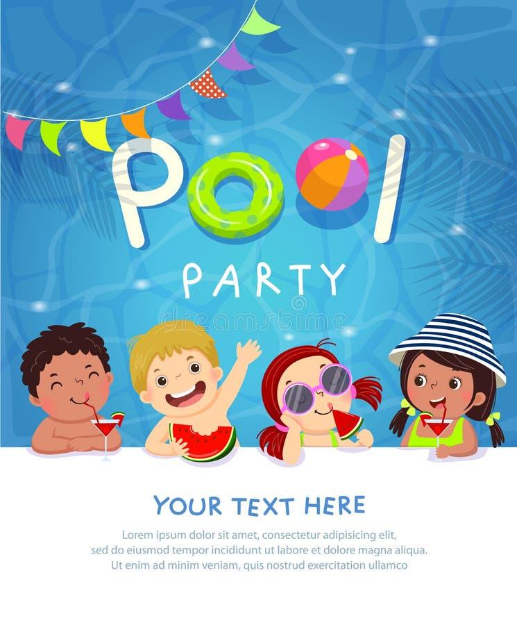 Tarjeta de la plantilla de la invitación de la fiesta en la piscina con los niños que gozan en piscina stock de ilustración