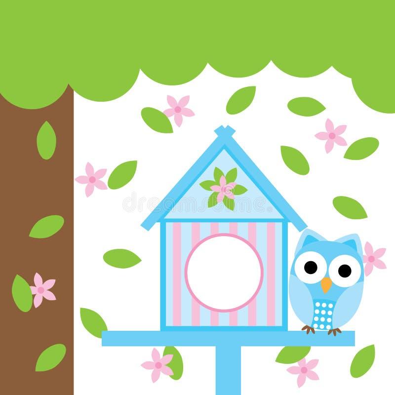 Tarjeta de la primavera con la casa linda del búho y del pájaro ilustración del vector