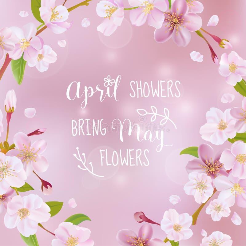 Tarjeta de la primavera de la flor de cerezo ilustración del vector