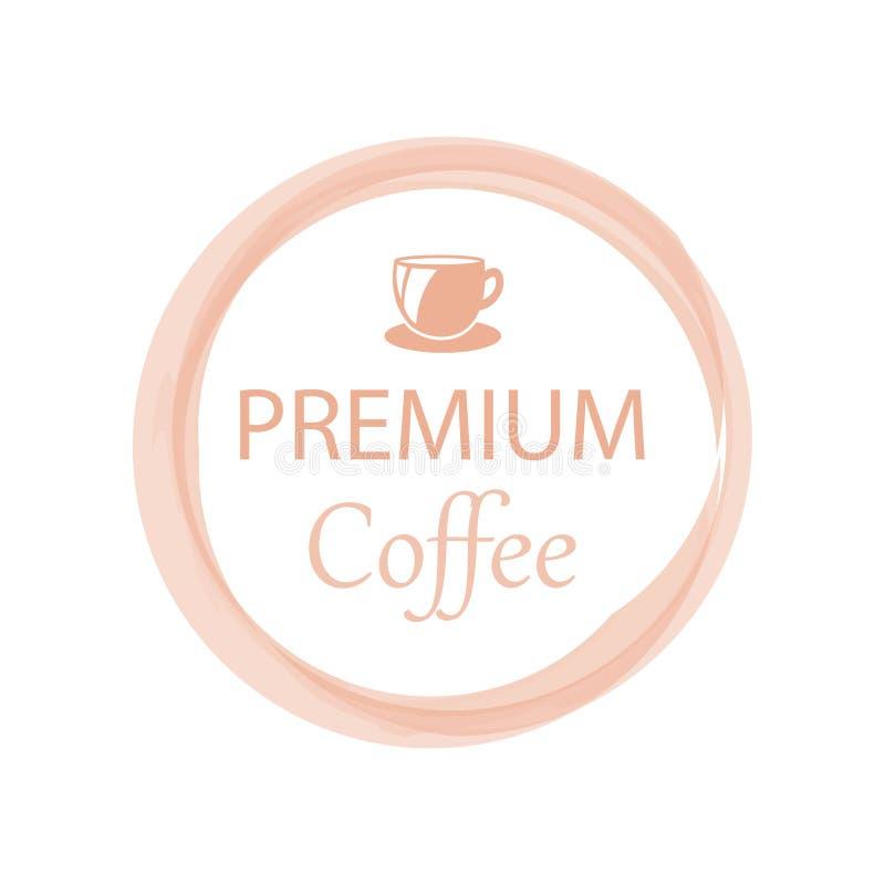 Tarjeta de la promoción con poner letras al café superior con cita del aroma de la bebida caliente en el top en círculo stock de ilustración