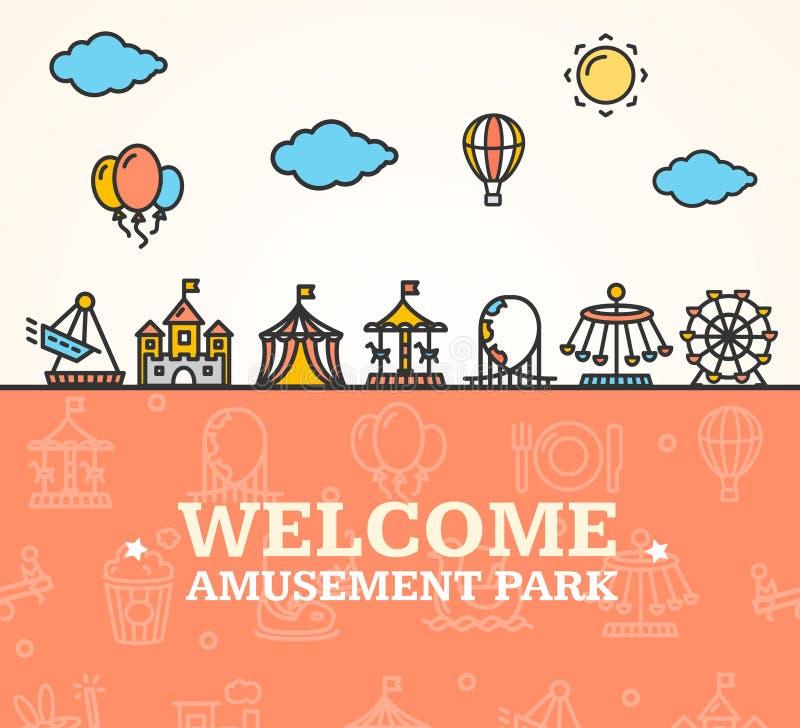 Tarjeta de la recepción del parque de atracciones Vector libre illustration