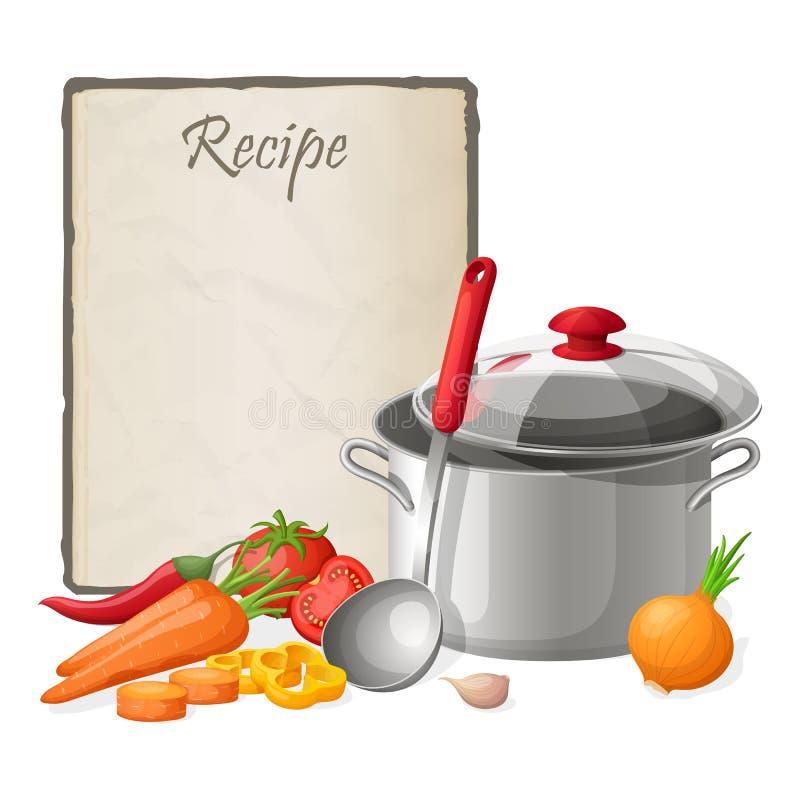 Tarjeta de la receta Ejemplo del vector de la plantilla del espacio en blanco de la nota de la cocina Cocinar la libreta en la ta ilustración del vector