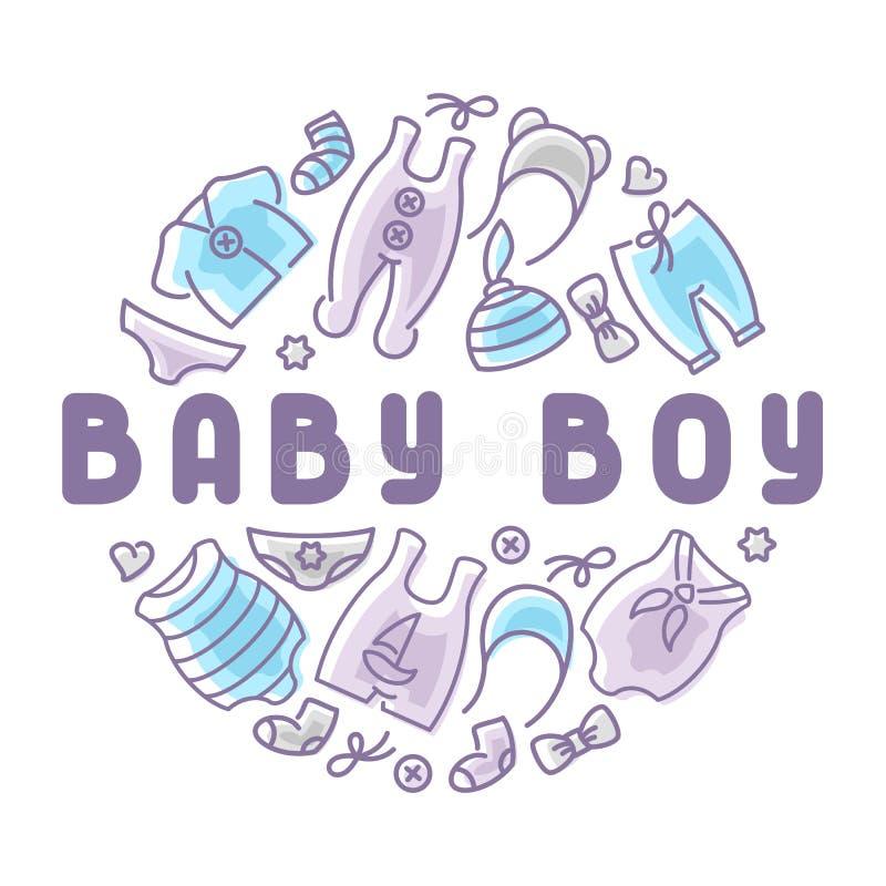 Tarjeta de la ropa del bebé ilustración del vector