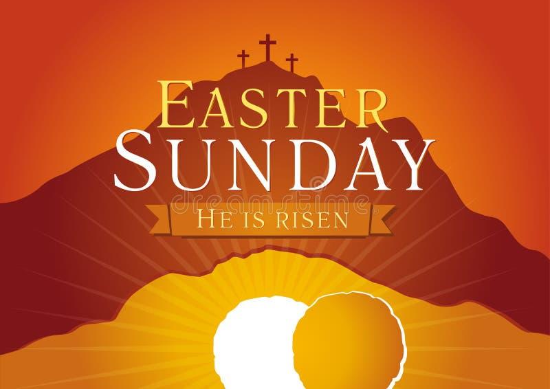 Tarjeta de la salida del sol de la semana santa de pascua domingo libre illustration