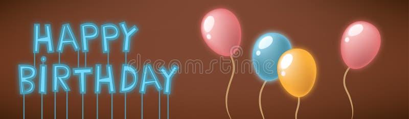 Tarjeta de la señal de neón del feliz cumpleaños stock de ilustración