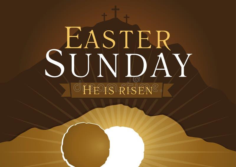 Tarjeta de la semana santa de pascua domingo stock de ilustración