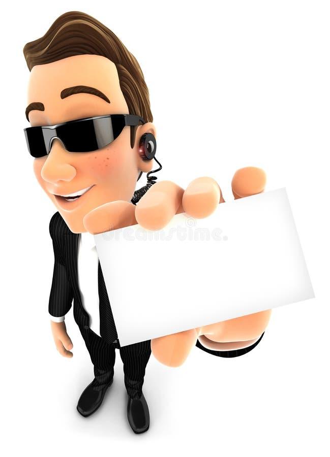 tarjeta de la sociedad de cartera del agente de seguridad 3d ilustración del vector