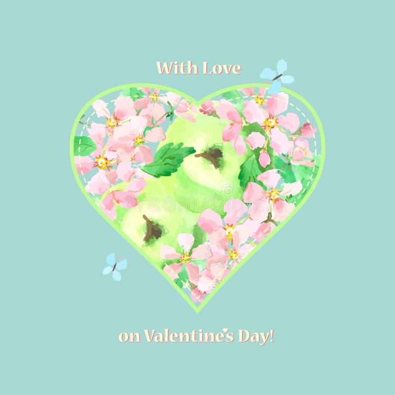 Tarjeta de la tarjeta del día de San Valentín con amor en el día del ` s de la tarjeta del día de San Valentín Corazón de manzana ilustración del vector