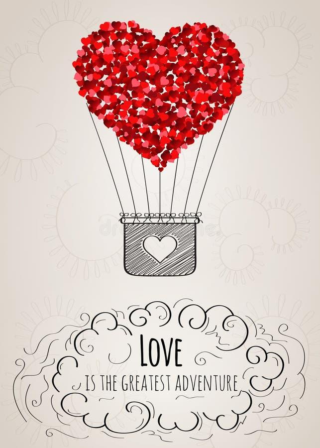 Tarjeta de la tarjeta del día de San Valentín con un globo en forma de corazón del aire caliente y un lema del amor ilustración del vector