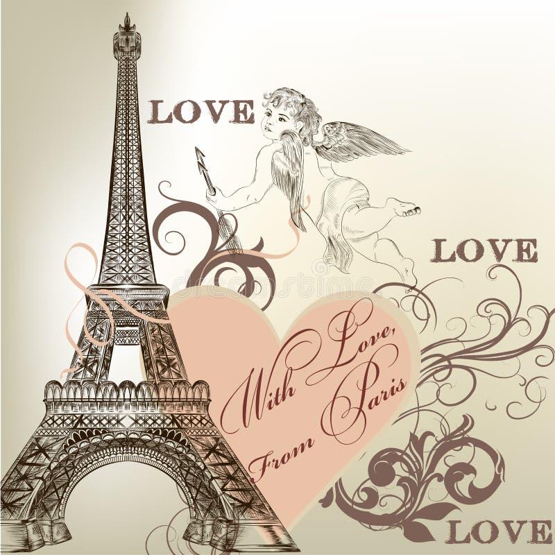 Tarjeta de la tarjeta del día de San Valentín del saludo con la torre Eiffel detallada del vector libre illustration