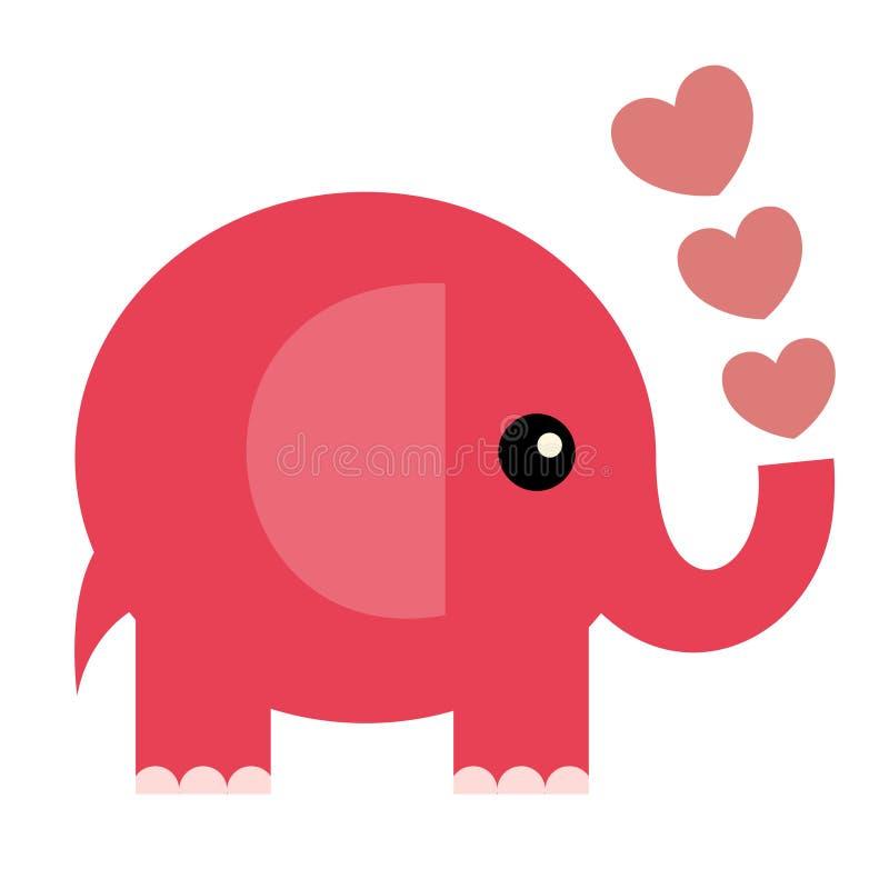 Tarjeta de la tarjeta del día de San Valentín del vector (elefante) ilustración del vector