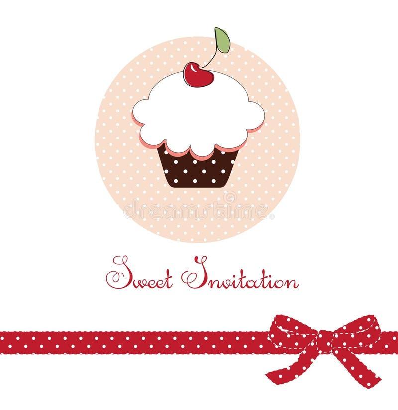 Tarjeta de la torta de la taza ilustración del vector