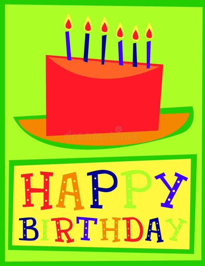 Tarjeta de la torta del feliz cumpleaños imágenes de archivo libres de regalías