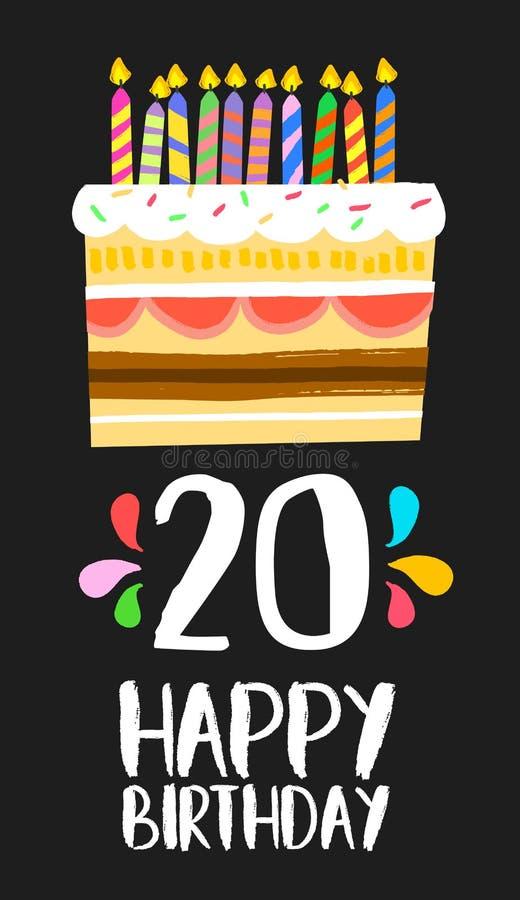 Tarjeta 20 de la torta del feliz cumpleaños partido de veinte años ilustración del vector
