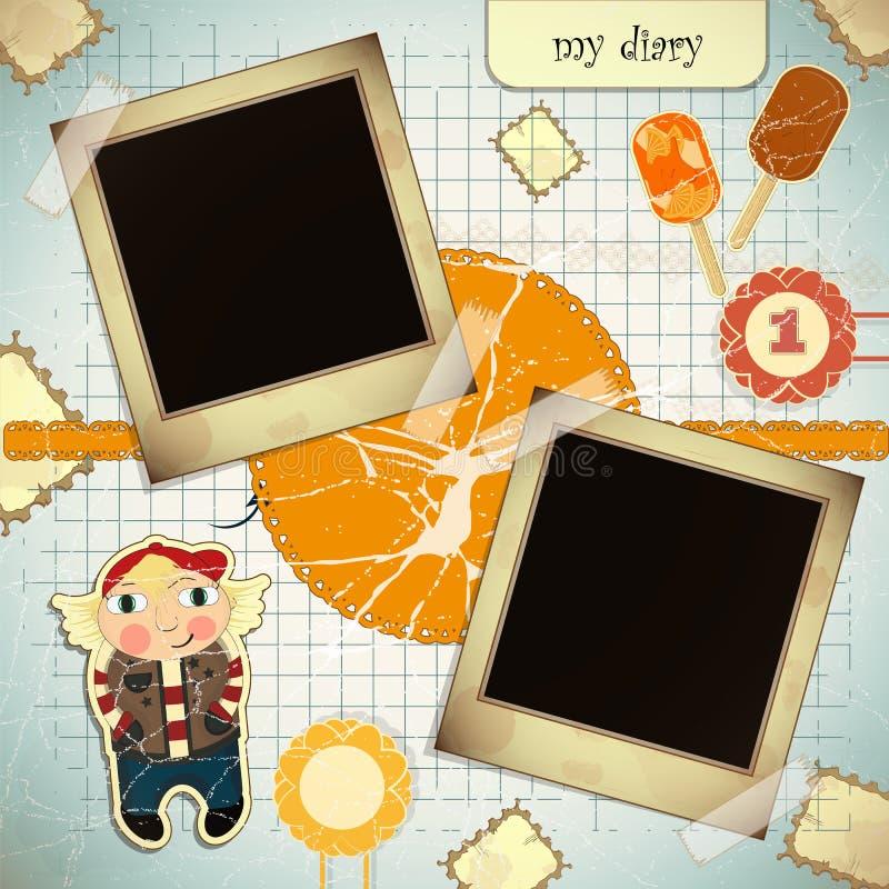 Tarjeta de la vendimia con el marco de la foto - estilo del libro de recuerdos ilustración del vector