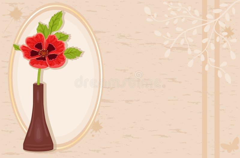 Tarjeta de la vendimia con la flor de la amapola stock de ilustración