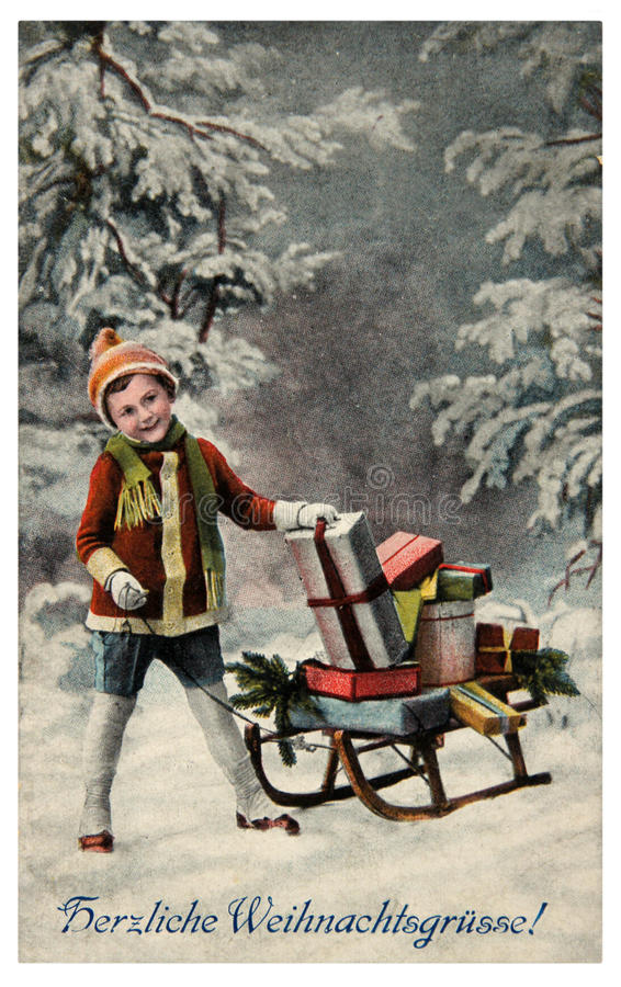 Tarjeta de la vendimia de la Feliz Navidad imagenes de archivo