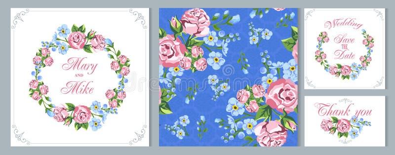 Tarjeta de la vendimia de la invitación de la boda Floral de guirnaldas el estilo rústico Flores apacibles stock de ilustración