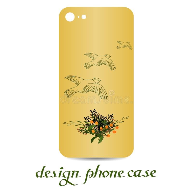 Tarjeta de la venta, caja natural del teléfono del elementsDesign del vector botánico Las cajas del teléfono son florales adornad stock de ilustración